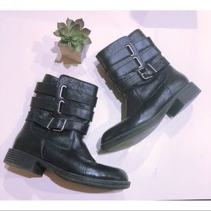 Kenneth Cole Black Leather Moto Boots Buckles